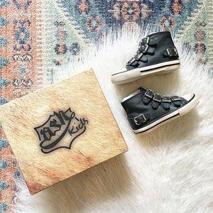 {ash} leather buckle sneaker kids blue 7.5 or 9